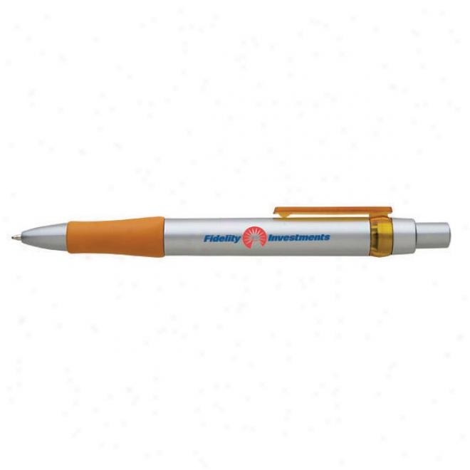 Negro Ink Retractable Ball Pen With Metallic Silver Barrel