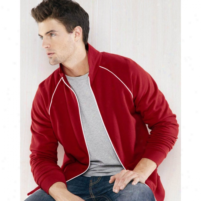 Canvas La Brea Full-zip Fleece Cadet Collar Jacket With Piping