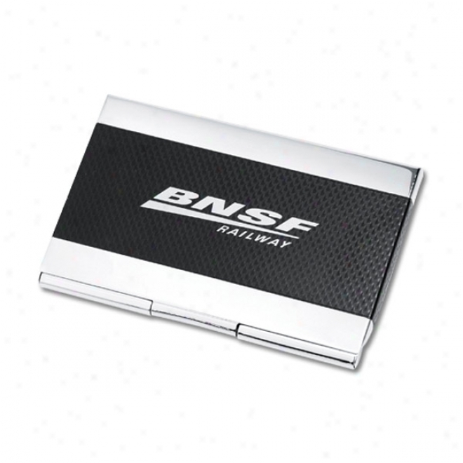 Chrome Plated Card Case With Black Designer Texture Center