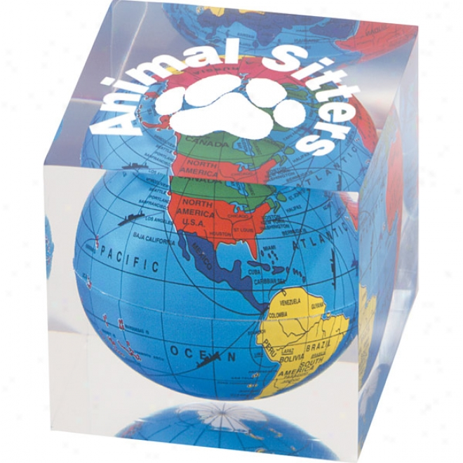 Clear Cube Shape Paperweight With Colorful Encased Globe