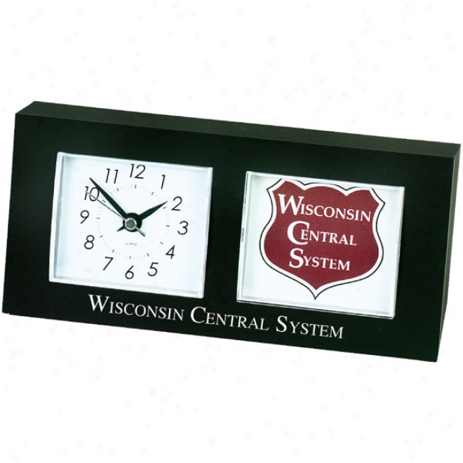 "Clock   Photo Frame Holds 2 5/8"" X 2 1/4"" Photo"