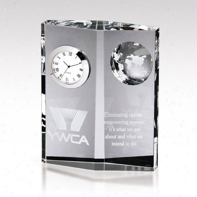 Dateline Optica Couture - Optical Crystal Award With Vertical Clock And Scalloped Globe