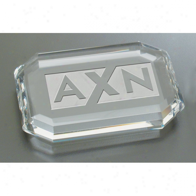 Deep Etched Faceted Rectangle Paperweight