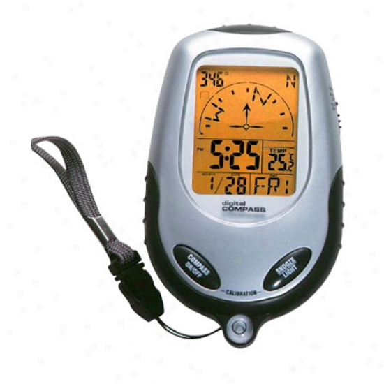 Digital Handheld Compass With Thermo - Alarm Clock