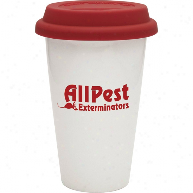 Double Wall White Porcelain Cup W/red Lid