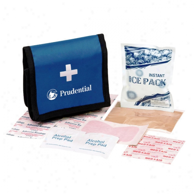 First Aid Kit W Vecro Case - Blue