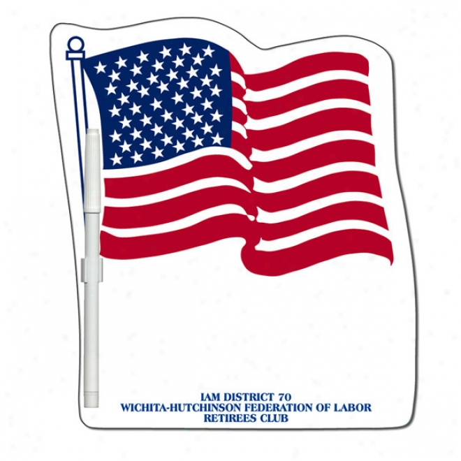 Flag - Stock Shape, Thirsty Erase Write On-wip eOff Memo Board With Marker, Laminated