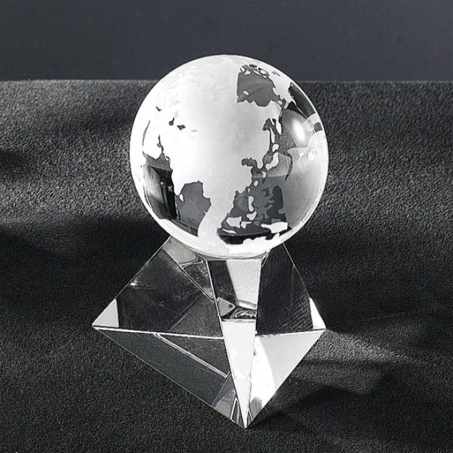 "Galactic Optica Couture - 3 5/8"" X 2 3/8"" - Crystal Globe Award On Pyramid Shaped Acquit Base"