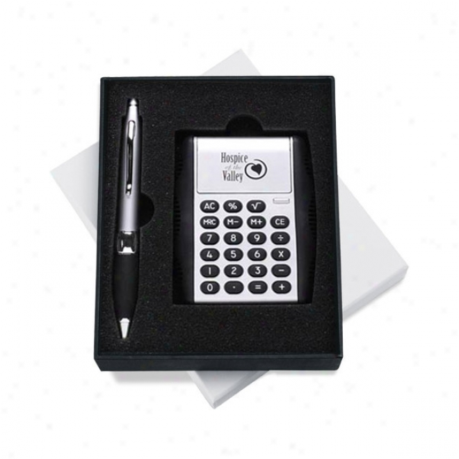 Gift Set With Auto Open Flipper Calcultor And Retractable Metal Pen