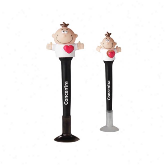 Goofy Pop Pen With Popping Heart - Black Barrel