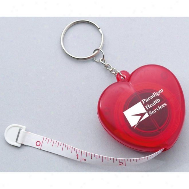 Heart Shaped Cloth Tape Measure With A Split Key Ring