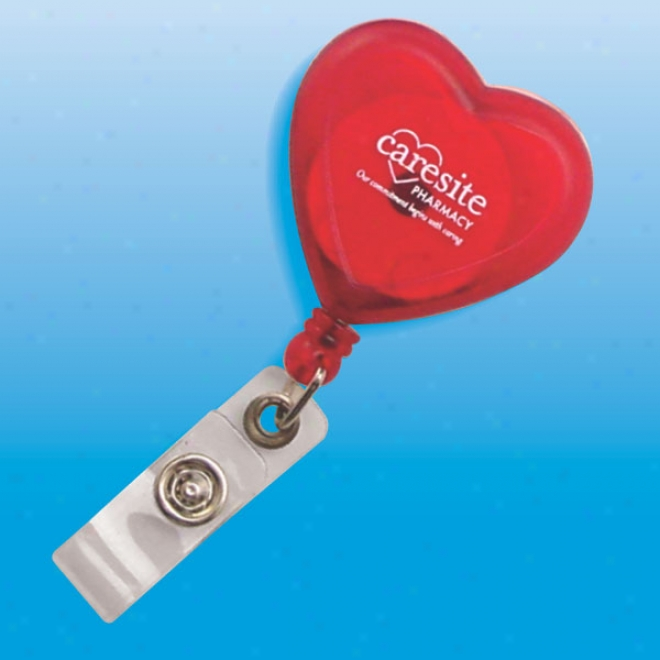 Heart Shaped Retractable Badge Holder, Card Stretches To 30 Inches