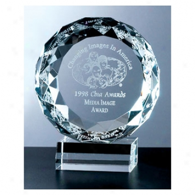 "Hope Optica Couture - 7"" X 6"" - Roundhighly Faceted Crystal Award On Crystal Base"