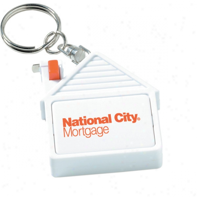 "House Tape Measure Key Tag With 79"" Metal Tape"