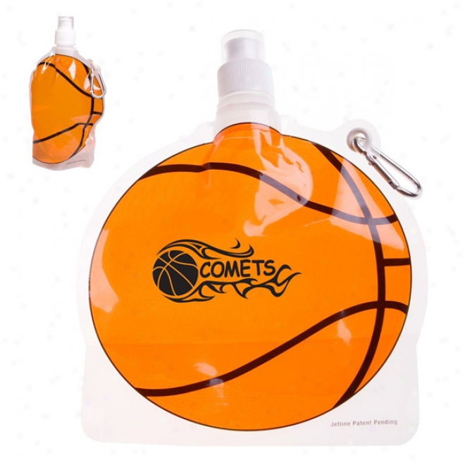 Hydropouch! 24 Oz. Basketball Collapsible Water Bottle - Patent Pending