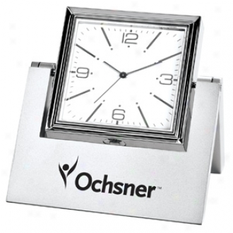In-line Rotating Silver Clock And Photo Frame