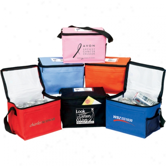 Insulated 6 Pack Cooler With Front Pocket And Side Mesh Pocket