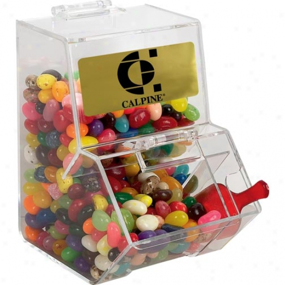 Jelly Bean Dispenser With Red Excavate Filled And 8 Oz. Bag Of Jelly Beans