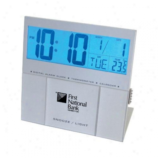 Jumbo Back Light Lcd Desk Alarum Clock With Thermometer