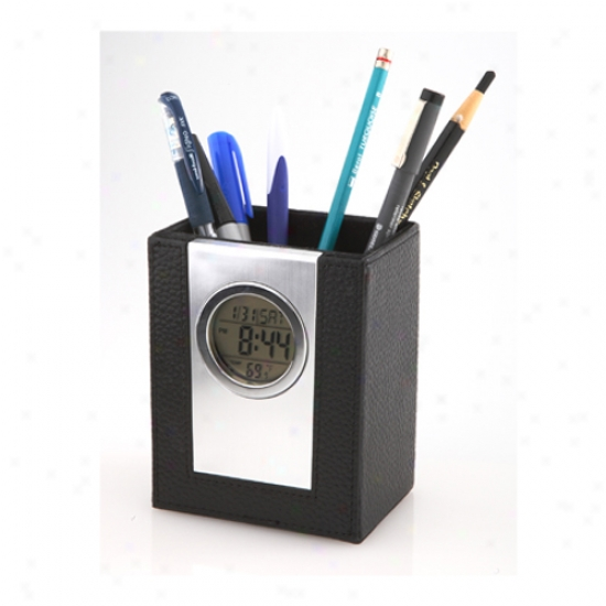 Leeather Pen Holder With Alarm Clock