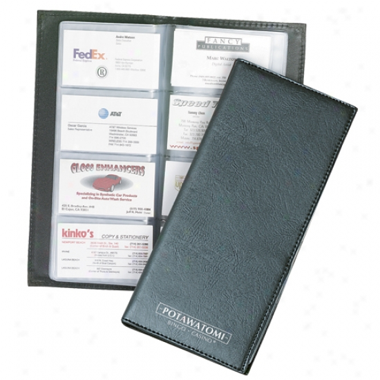 Leatherette Business Card File, Holds 96 Business Cards
