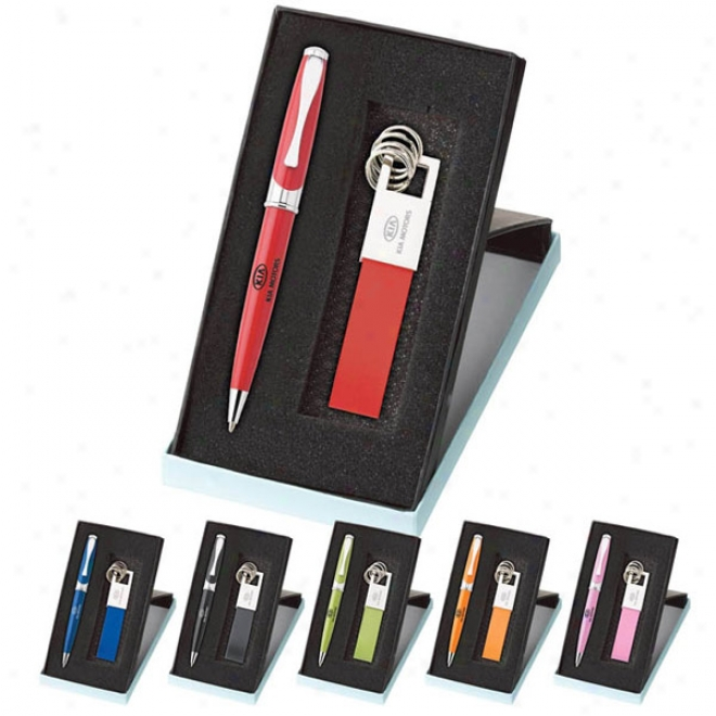 Maxinee Ballpoint & Leather Key Ring Set (colorplay)