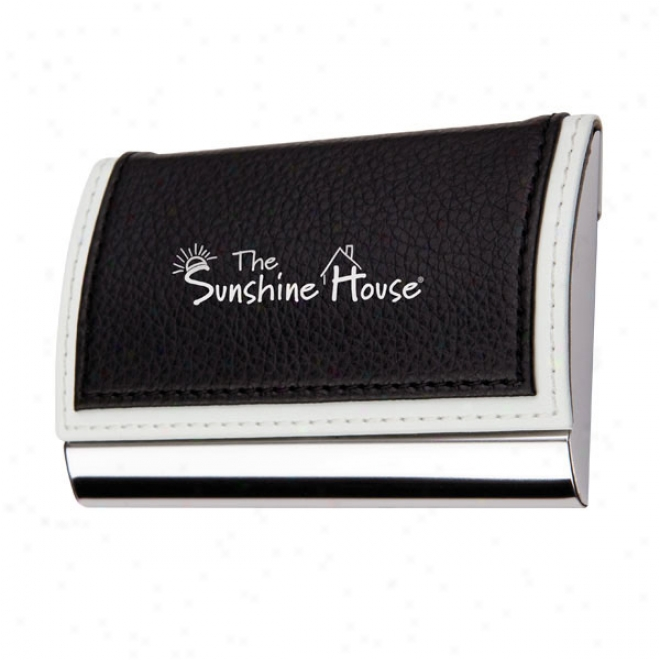 Metal Card Case With Black White Faux Leather Top Cover