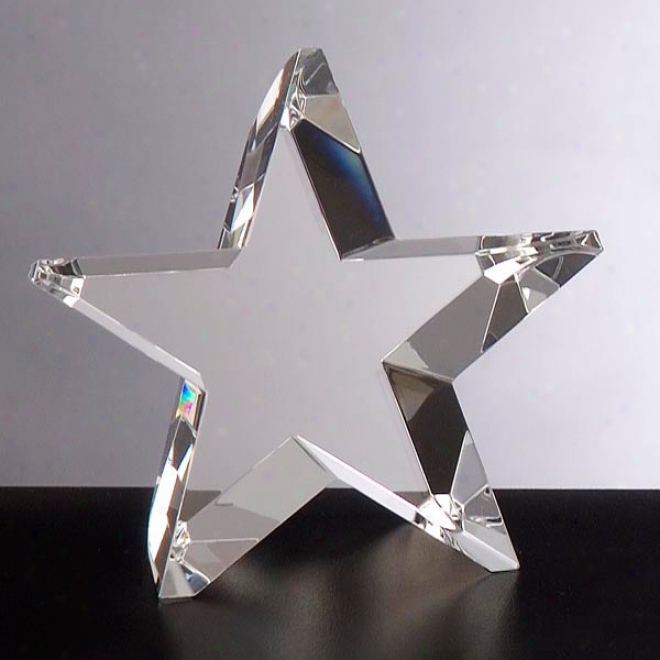 """Meteoric Optica Couture - 6"""" X 5 3/4"""" X 2 3/8"""" - Star Shaped Crystal Award"""