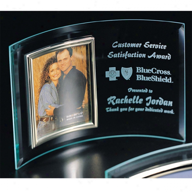 "Optica Couture - 8"" X 11"" - Curved Glass Award With Photo Display Inset"