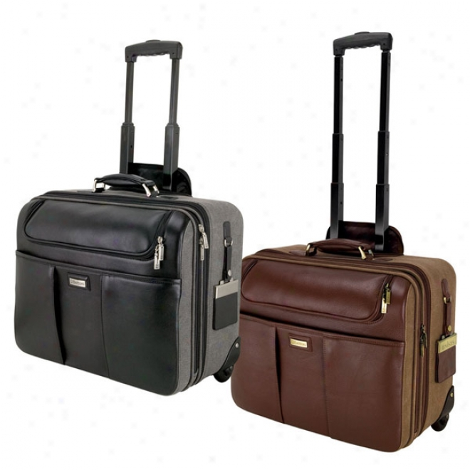 Palermo - Brown Napa Leather Canvas Trolley Case