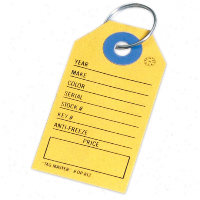 Rectangle Auto Dealer Tag With Ring But Not Not Assembled