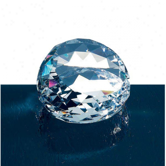 Regalia Optica Couture - Clear Prism Rainbow - Round Faceted Crystal Paperweight