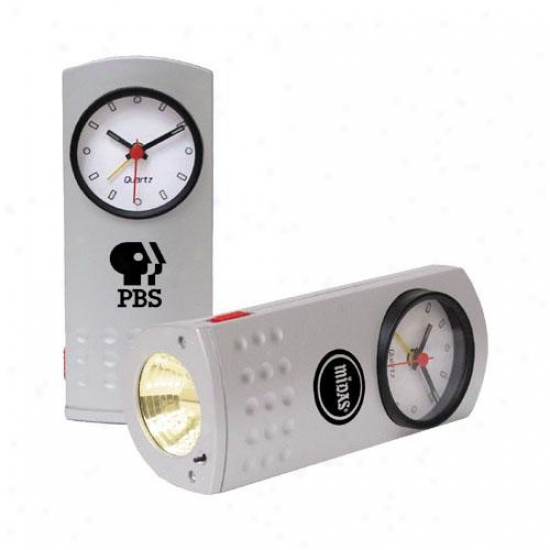 Safety Flashlight Travel Alarm Clock With Second Hand