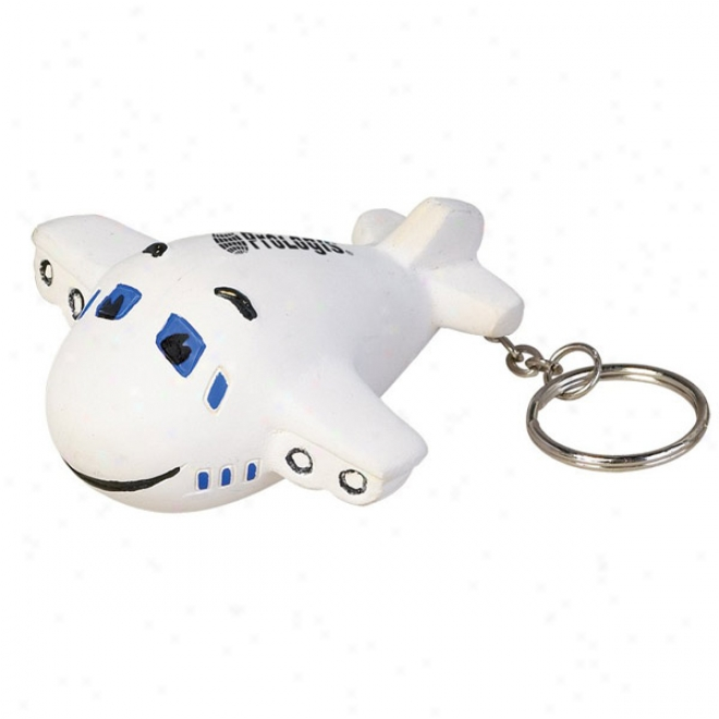 Smiley Airplane Stress Reliever Key Chain