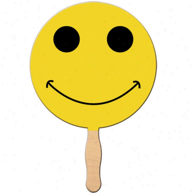 Smiley Face (price As Two Colors) - Stock Shape Fan, Material Used Is Heavy 22 Pt. High Denqity White Poster Board