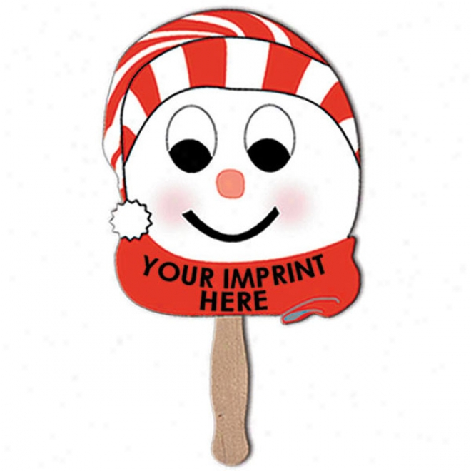Snowman With Stocking Cap On A Stick, Made From Violent Density White Poster Board