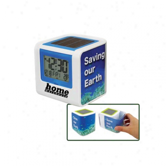 Solar Powered Clock With Photo Frame