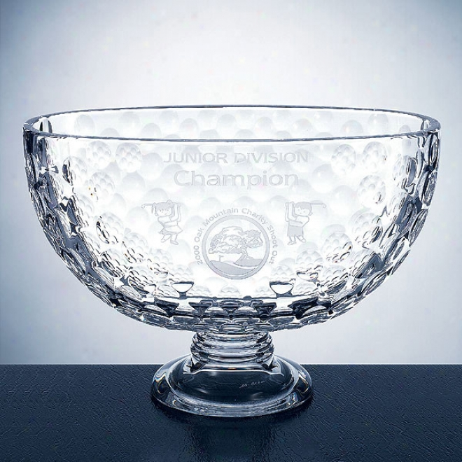 "St. Andrews Optica Couture - 7 1/4"" X 10 3/4"" - Italian 24% Lead Crystal Golf Trophy Bowl"