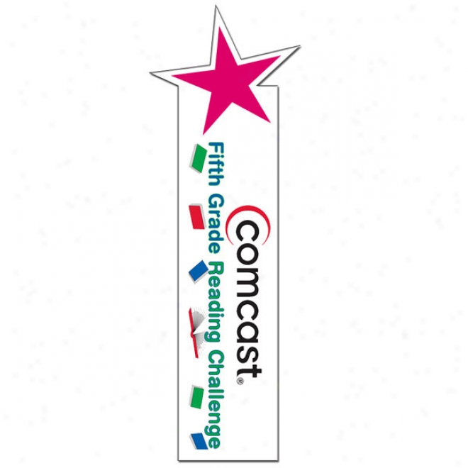 "Star - Full Color Bookmark iWth Shaped Top, Made Of 14 Pt. Pure Poster Board, 1.75"" X 8"""