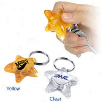 Star Shape, Flashlight Key Ring With A Krypton Lamp And A 4.5v Disposable Battery