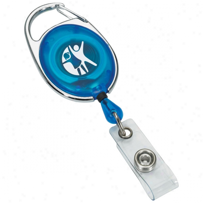 Translucent Retractable Badge Reel With Silver Sport Clip