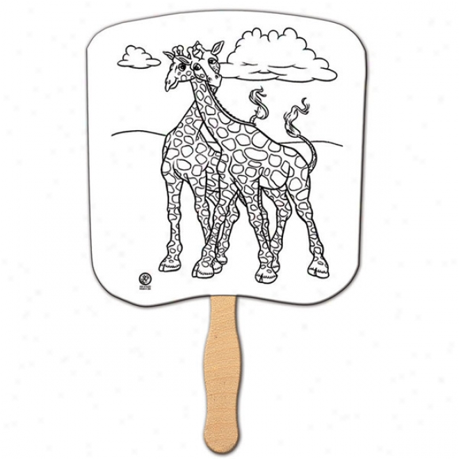 "U-color - Giraffes - Coloring Fan With Stick, 22 Pt. High Density White Poster Board, 8"" X 8"""