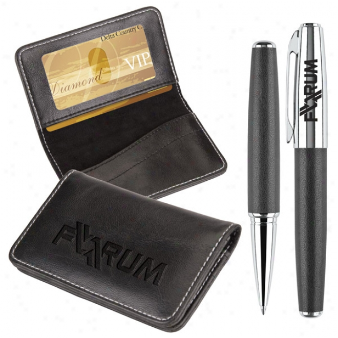 Victory Gift Set Business Card Case And Rollerball
