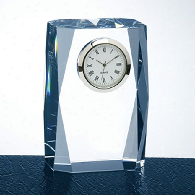 Vitellius Optica Couture - Tall Crystal Award By the side of Edge Faceting And Vertical Clock