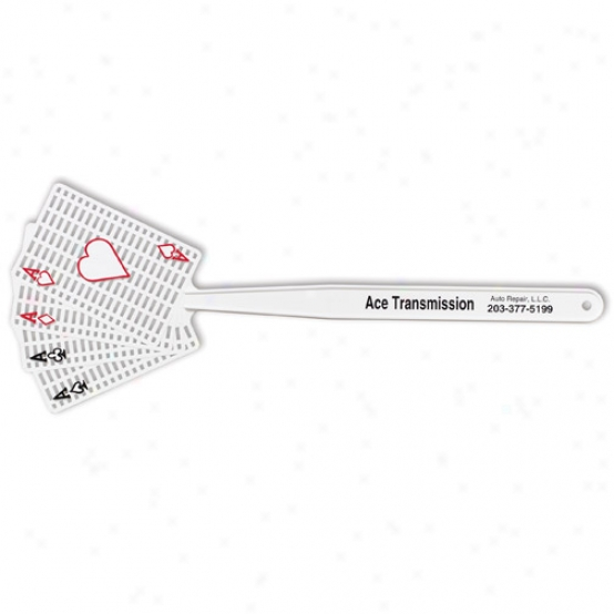 With Pips - Fly Swatter With Four Ace Cards Shape Pad