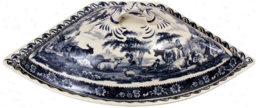 "13 1/2"" Wide Blue And White Porcelain Tureen (r3247)"