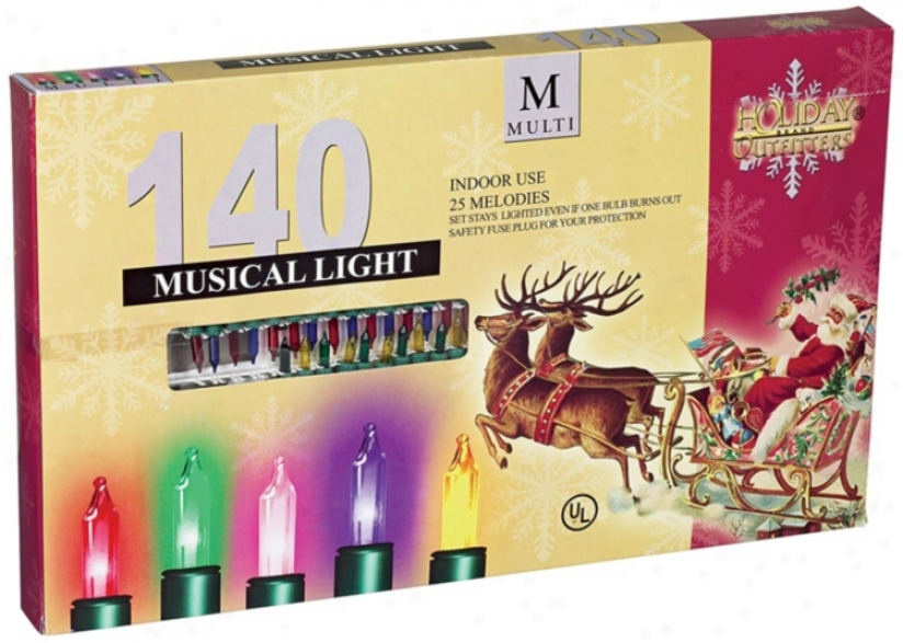 140 Musical Light Strand Multi-color Holiday Lights (l0280)