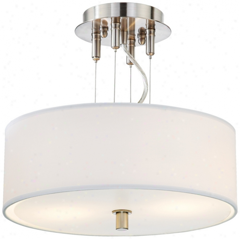 "14"" Wide White Shade Semi-flush eCling Light (00884)"