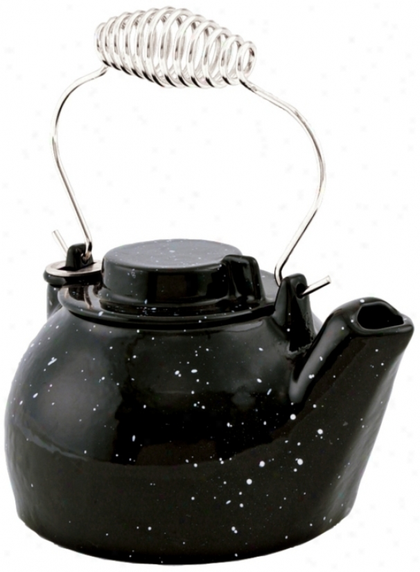 2 1/2 Quart Black Enameled Cast Iron Humidifier Kettle (u9301)