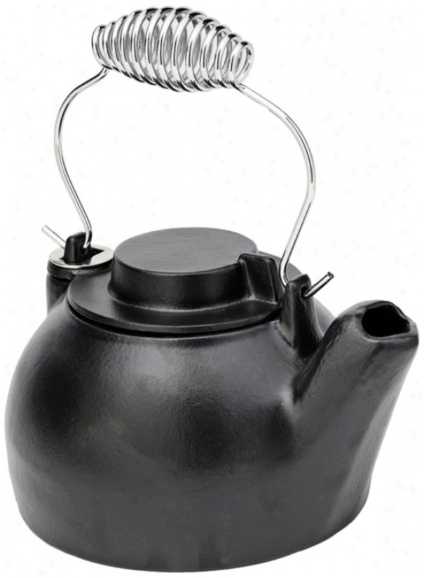 2 1/2 Quart Blue Dismal Enameled Cast Iron Humidifier Kettle (u9302)